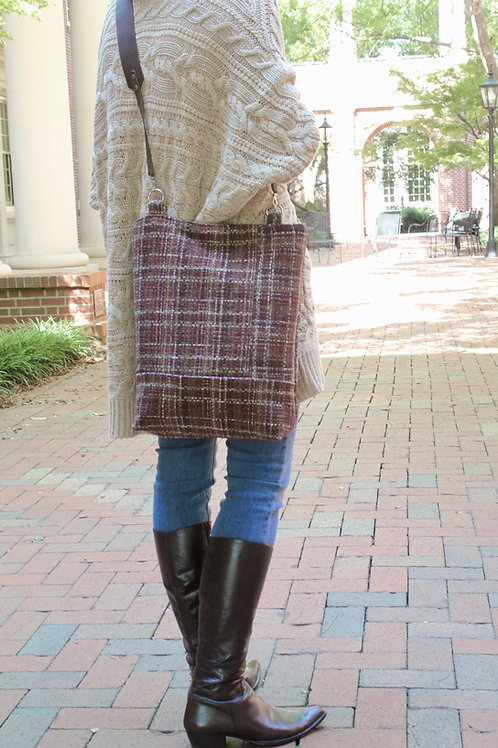 Burgundy Tweed Velma Crossbody Bucket Bag