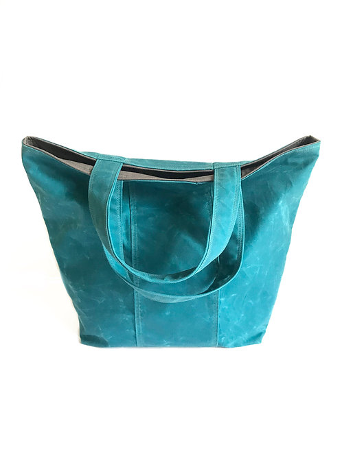 Waxed Canvas Frances Tote Bag in Capri with Charcoal