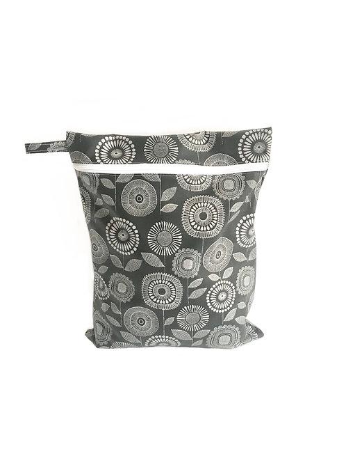 Gertrude Grey Flowers Wet Bag