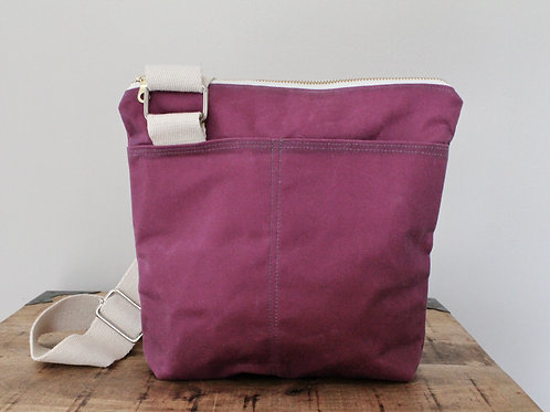 Raspberry with Starburst Waxed Canvas Hick Crossbody Bag