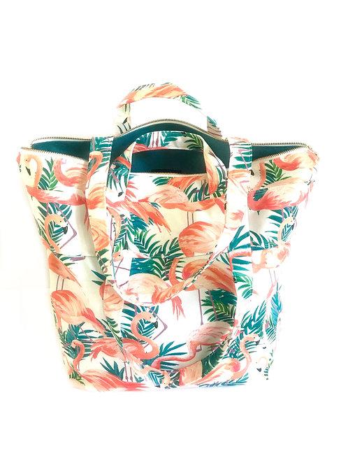 Flamingo Phee Zippered Small Weekender Tote Bag