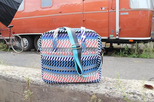Striped Mod Heather Traveler Bag in Fuchsia