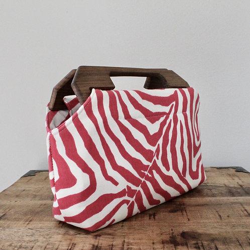 Zebra Charlotte Wood Handled Clutch