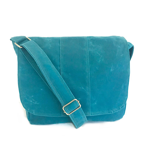 Waxed Canvas Capri Janie Messenger Bag with Campers