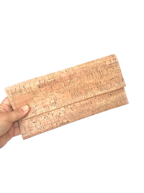 Natural Cork with Pink Zebra Nelle Clutch