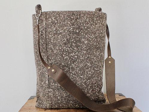 Brown Tweed Velma Crossbody Bucket Bag