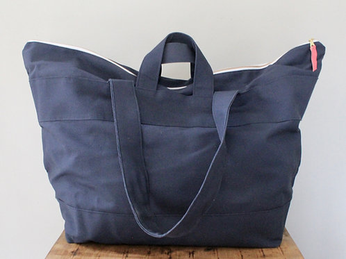 Navy Ophelia Weekender Tote Bag with Fronds