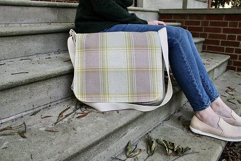 Lilac Tartan Plaid Molly Messenger Bag