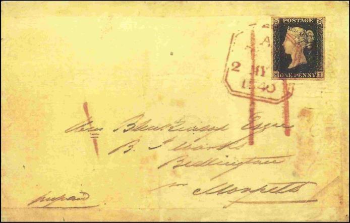 Envelope circulado em 2 de maio de 1840, de London para Morpeth, utilizado Penny Black antes do período de permissão de circulação (6 de maio)
