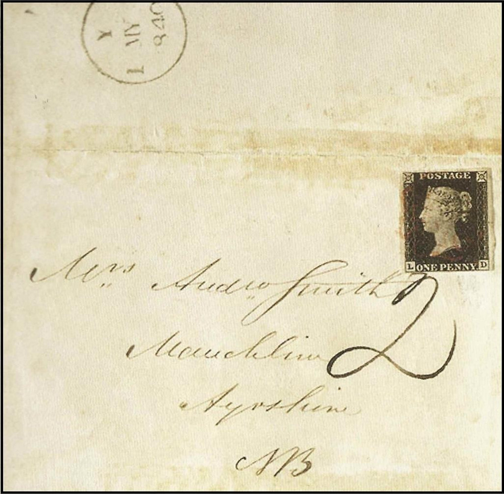 Envelope circulado em 1 de maio de 1840 com Penny Black [3] antes do período de permissão de circulação (6 de maio). Multa aplicada no dobro da postagem (2 pence), pago pelo destinatário.