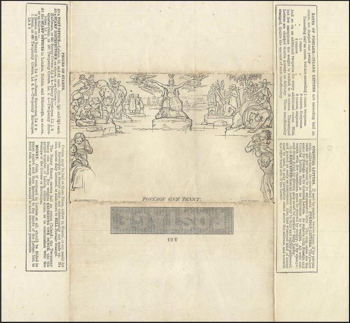 Mulready Letter Sheet - 2 pence, para cartas com peso até 1 onça (30 gramas), não circulado (coleção de William Chen)
