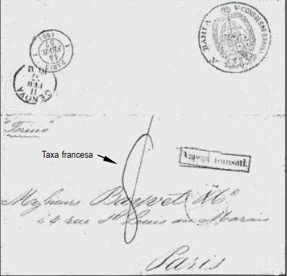 """Fig. 11 - Carta do Vice Consulado da Sardenha na Bahia, endereçada a Paris. Foi transportada pelo vapor """"Torino"""", que chegou a Gênova em 11/ 02/1857. Despachada à França por via terrestre, foi entregue em Paris em 14/02/1857, recebendo a taxa francesa de 1º porte de 8 décimos."""