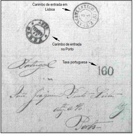 """Fig. 12 - De Pernambuco para o Porto transportada pelo navio """"Genova"""" na sua primeira viagem a Portugal. Chegou em Lisboa em 08/04/1857 e recebeu o carimbo """"P. Transatlantico"""", além da taxa de 160 Réis, para as cartas pesando entre 1,5 e 2 oitavas. Despachada ao Porto, foi recebida em 11 de abril. É a carta mais antiga que conhecemos."""