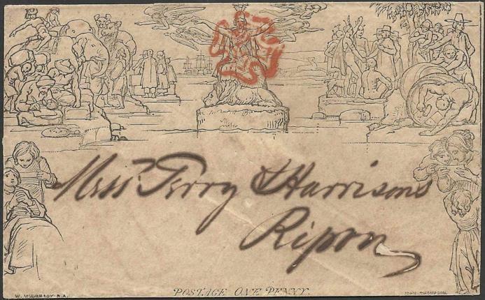 Mulready Envelope - 1 penny, para cartas com peso até 1/2 onça (15 gramas), circulado em 28 de setembro de 1840 de Keighley para Ripon, via Bradford (Coleção de William Chen).