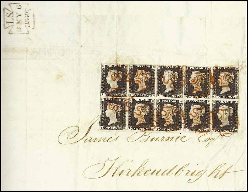 """Envelope circulado em 6 de maio de 1840 (data inicial de permissão de circulação), com 10 Penny Black - """"The Kirkcudbright Cover"""" [4]"""