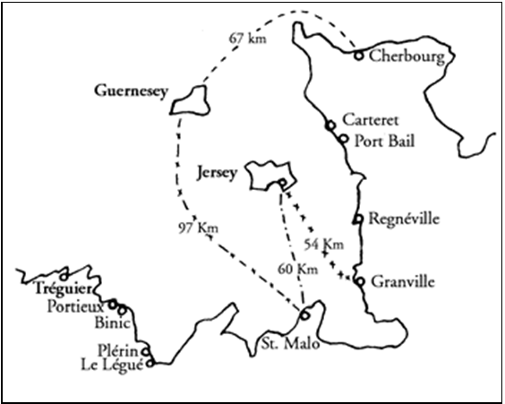 Fig. 1 – Ilhas anglo-normandas e portos de entrada na França.