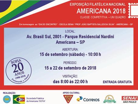 """Exposição Filatélica Nacional """"Americana 2018"""""""