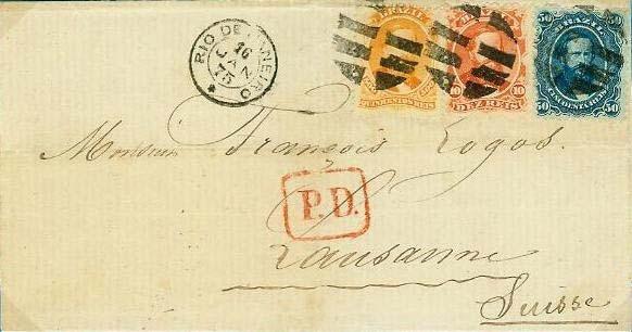"""Figura 8 – Carta do Rio de Janeiro de 16 de Janeiro de 1875 endereçada a Lausanne, Suíça, apresentando franquia de 560 Réis em selos brasileiros. No seu verso, trânsito por Paris em 6 de fevereiro (carimbo """"Paris / Étranger""""), e marca de chegada ao destino em 7 de fevereiro. Porte simples para a Suíça, de acordo com a Convenção de 1874."""