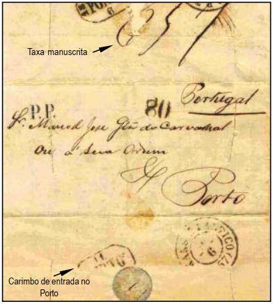 """Fig. 14 - Do Rio de Janeiro de 29/04/1857, endereçada ao Porto e transportada pelo navio """"Vittorio Emanuele"""" na sua primeira viagem na rota Brasil- Portugal. Chegou em Lisboa em 09/06 e recebeu o carimbo """"P. Transatlantico"""", além da taxa de 80 Réis, aplicada às cartas pesando até 1 oitava. Despachada ao Porto, foi recebida em 11/06/ 1857. Marca """"PP"""" em negro aplicada na frente e taxa """"1,5"""" manuscrita no verso. Cortes de desinfecção."""