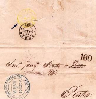"""Fig. 14 - Bahia, 1869 para o Porto. Compagnie Franco-Américaine (1856- 57). Taxa portuguesa de 160 Réis pelo 2º porte e carimbo de entrada """"P. TRANSATLANTICO"""" em amarelo. Embora operando sem subsídio e por um curto período, foi-lhe designado o carimbo daquela cor, em vez do negro aplicado às outras companhias."""