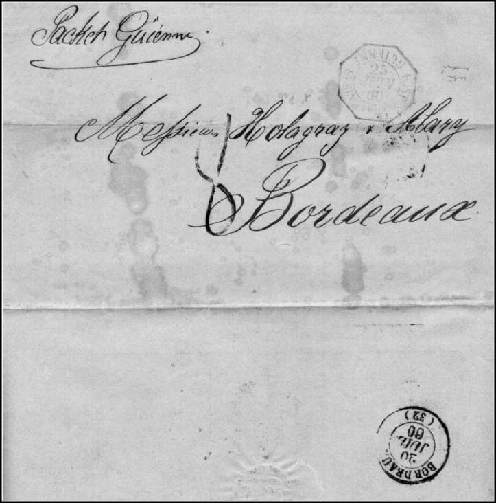 """Fig. 3 - Carta para Bordeaux - Porte simples para a França - Carimbo """"Postes Françaises Guienne"""" de 25 de junho de 1860. Primeira viagem sob a Convenção Brasil-França"""