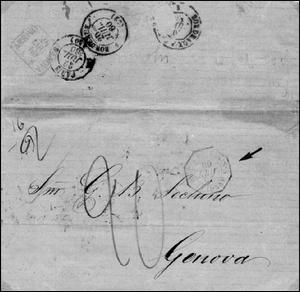 """Fig. 1 - Carta para Gênova - Porte duplo para a Itália - Carimbo """"Postes Françaises Guienne"""" de 25 de junho de 1860. Primeira viagem sob a Convenção Brasil-Françaa"""