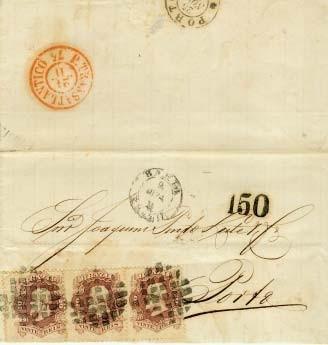 """Figura 9 – Carta da Bahia de 9 de novembro de 1874, endereçada ao Porto. Franquia de 60 Réis em selos brasileiros. Entrada por Lisboa em 24 de novembro, sendo ali aplicado o carimbo """"P. Transatlântico"""" na cor vermelha, utilizado para os navios da """"Méssageries Impériales"""" a partir de 1874. Chegada ao Porto em 25 de novembro de 1874. Carta enviada após a homologação brasileira da Convenção de 1874 porém antes de sua entrada em vigor, após 1º de janeiro de 1875."""