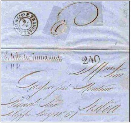 """Fig. 15 - Da Bahia para Lisboa de 30/04/1857, transportada pelo navio """"Vittorio Emanuele"""" na sua primeira viagem a Portugal. Recebeu o carimbo """"P. Transatlantico"""" e a taxa portuguesa de 240 Réis, para as cartas pesando entre 2,5 e 3 oitavas na chegada, em 09/ 06/1857. Marca """"PP"""" em negro aplicada na frente e taxa """"3"""" manuscrita no verso."""