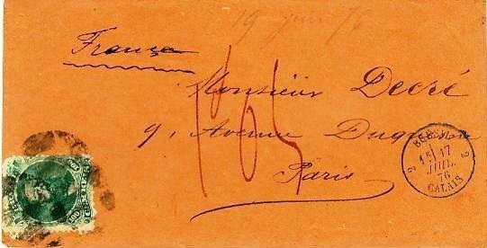 Figura 5 – Carta de porte simples postada em Pernambuco a 4 de fevereiro de 1876 (verso) e endereçada a Paris, portando selo brasileiro de 100 Réis. Na chegada ao destino em 28 de fevereiro (verso), recebeu a taxa francesa de 1 Franco e 5 cêntimos, correspondente à taxa 13 décimos para as cartas não franqueadas ou com franquia insuficiente, da qual foi deduzida a franquia pré-existente de 100 Réis, equivalente a 25 cêntimos de Franco.