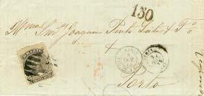 Figura 10 - Carta da Bahia de 8 de outubro de 1875, endereçada ao Porto. Franquia brasileira de 80 Réis. No verso, o carimbo de entrada por Lisboa em 24 de outubro e o de chegada ao Porto em 25 de outubro de 1875. Porte correto segundo a tabela brasileira da Convenção de 1874.