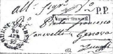 """Fig. 7- Carta de Buenos Aires, de 20 de abril de 1857, transportada pelo navio """"Vittorio Emanuele"""" para Gênova. Notar o carimbo do Consulado da Sardenha em Buenos Aires, marca """"PP"""" e a ausência de taxação na chegada."""