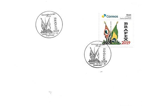 Envelope com o Selo Personalizado BRAPEX 2019 e carimbo comemorativo alusivo