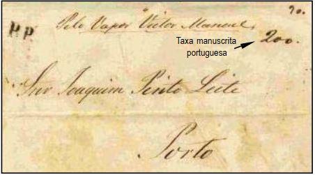 """Fig. 16 - Do Rio de Janeiro para o Porto, de 30/04/1857, transportada pelo navio """"Vittorio Emanuele"""" na sua primeira viagem a Portugal. Recebeu em Lisboa o carimbo """"P. Transatlantico"""" de 09/06 e a taxa manuscrita portuguesa de 200 Réis, para as cartas pesando entre 2 e 2,5 oitavas, na chegada, em 09/06. Entregue no Porto em 11/ 06/1857. Marca """"PP"""" em negro aplicada na frente e taxa """"1,5"""" manuscrita no verso."""