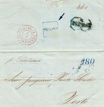 """Fig. 12 - Carta da Bahia, 1854 para o Porto. Marca de entrada """"P. TRANSATLANTICO"""" em vermelho utilizada para a South American & General Steam Navigation Cº (1853-1855). Taxa de portuguesa de 180 Réis (2º porte) e marca administrativa """"ABATIDA""""."""