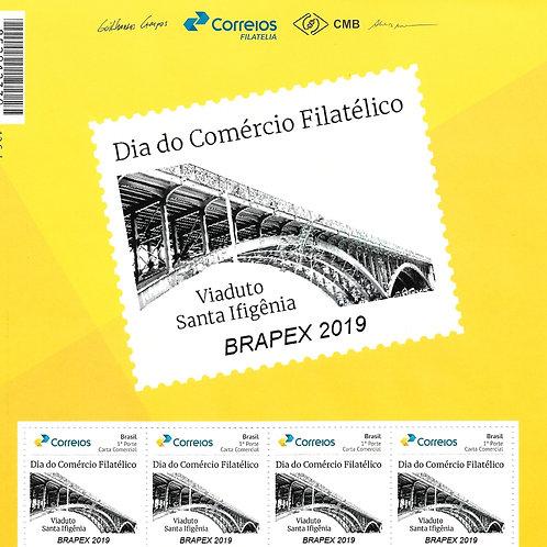 Selo Personalizado Dia do Comércio Filatélico - Topo de folha + 4 selos