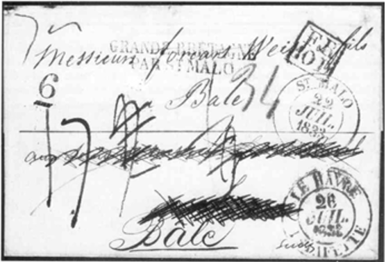 Fig. 6 – Do Rio de janeiro a Bâle via Guernesey e Saint-Malo.