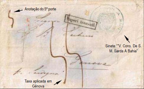 """Fig. 8 - Carta da Bahia de 17/02/1857 para Gênova, transportada pelo vapor """"Sardegna"""", que fazia a ligação Rio - Buenos Aires, quando de sua viagem final à Sardenha após ter sido substituido pelo navio """"Italia"""". Chegou a Gênova em 03/04/1857, recebeu a marca """"Vapori transatl."""" e foi taxada pelo quinto porte em 55 décimos. Sinete azul do Vice Consulado Sardo na Bahia, aplicado ao alto, à direita. Passagem pelo Lazareto de Varignano (La Spezia), onde sofreu cortes e foi desinfectada por vapores de enxofre."""