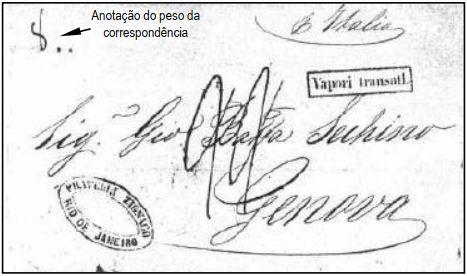 """Fig. 10 - Carta do Rio de Janeiro (sem data) transportada a Gênova pelo vapor """"Vittorio Emanuele"""" na última viagem da Companhia. Chegada em 12/11/1857, recebendo a marca """"Vapori transatl.""""e a taxa de 22 décimos de Lira pelo segundo porte. """"8"""" (gramas) anotado ao alto, à esquerda."""