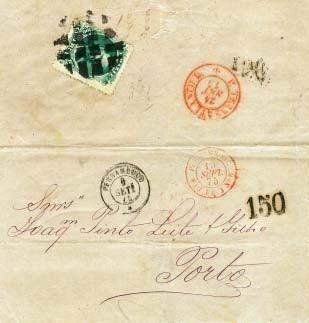 Figura 11 - Carta de Pernambuco de 9 de setembro de 1875, endereçada ao Porto. Franquia brasileira de 100 Réis. Carimbo de entrada em Lisboa de 24 de setembro de 1875. Sem marca de chegada no Porto. Franquia de 20 Réis em excesso.