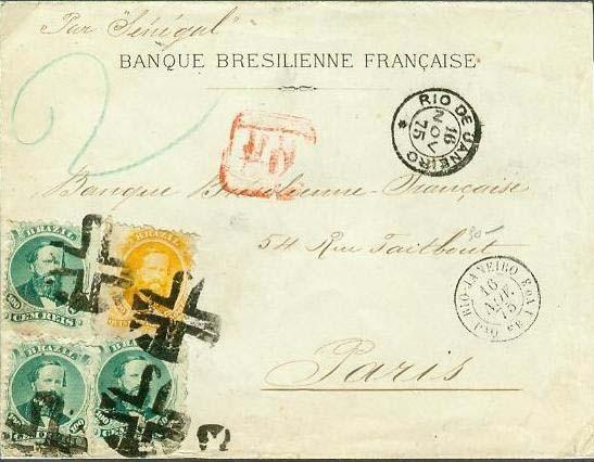 Figura 2 – Porte duplo de 800 Réis até 30 gramas em carta do Rio de Janeiro a Paris, postada em 16 de novembro de 1875. No verso, carimbo de chegada a Paris em 7 de dezembro de 1875.