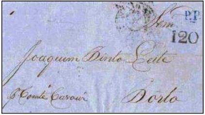 """Fig. 17 - De Pernambuco para o Porto, de 11/08/1857, transportada pelo navio """"Conte di Cavour"""" na sua última viagem a Portugal. Recebeu o carimbo """"P. Transatlantico"""" e a taxa manuscrita portuguesa de 120 Réis, para as cartas pesando entre 1 e 1,5 oitavas na chegada, em 07/09. Entregue no Porto em 09/09/1857. Marca """"PP"""" em azul aplicada na frente."""