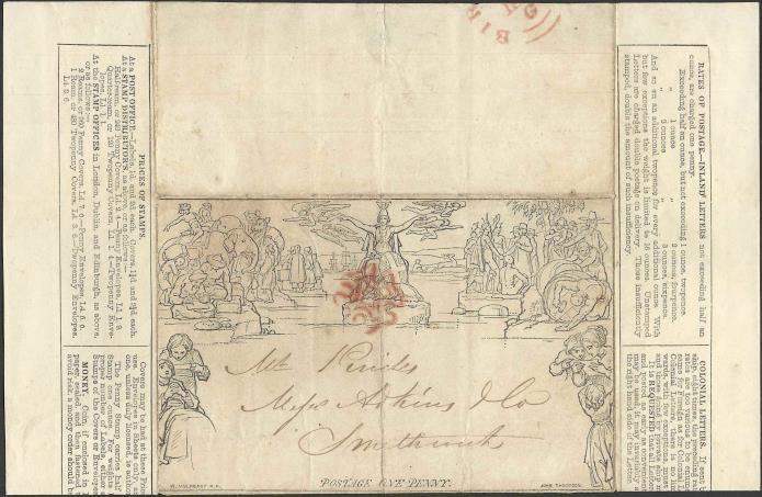 Mulready Letter Sheet - 1 penny, para cartas com peso até 1/2 onça (15 gramas), circulado em 13 de maio de 1850, de Birmingham to Smethwich (Coleção de William Chen)