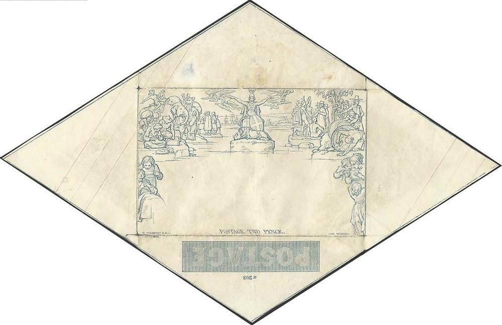 Mulready Envelope - 2 pence, para cartas com peso até 1 onça (30 gramas), não circulado (coleção de William Chen)