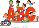 illustration-kids-playing-lettershaped-p