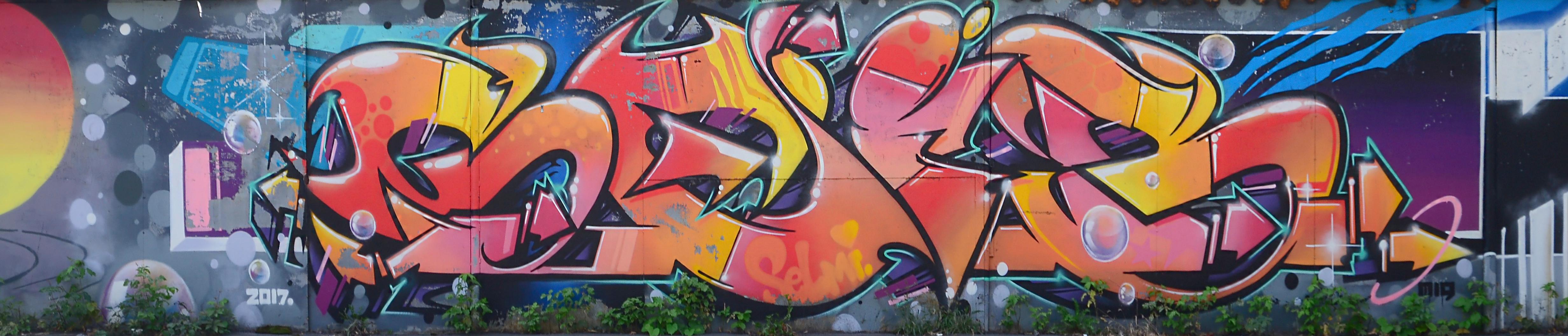Fragment of graffiti drawings