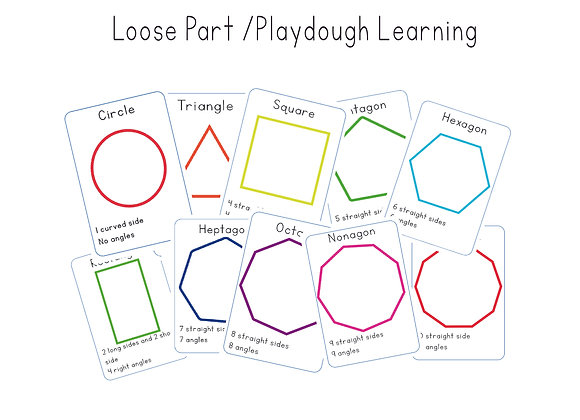 Shapes (up to 10 sided) Loose part/playdough cards