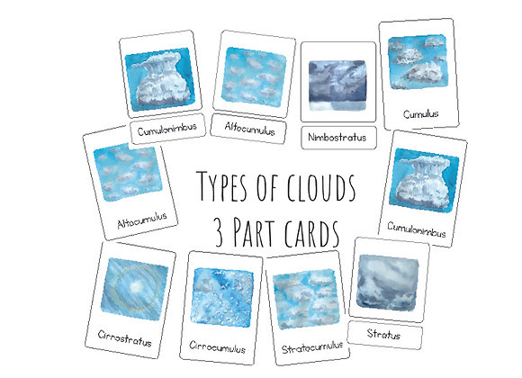 Types of clouds 3 Part cards
