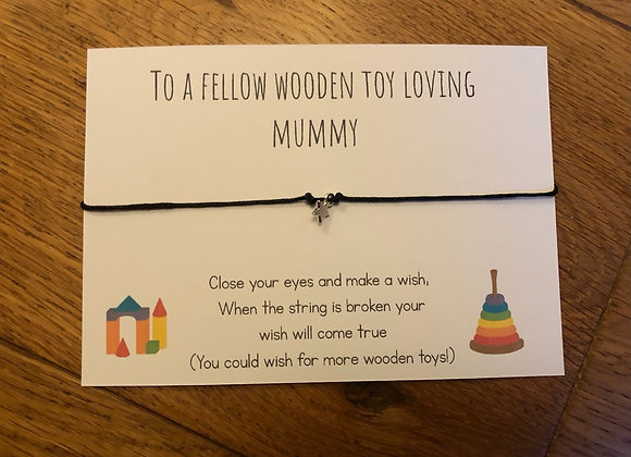 Wooden toy mummy wish bracelet