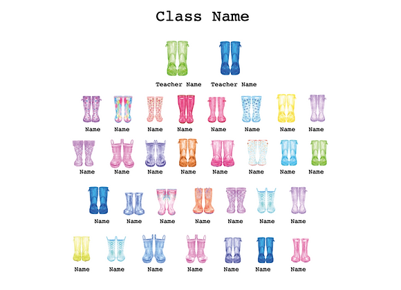 Class Welly Print - 30 Children 2 Adults