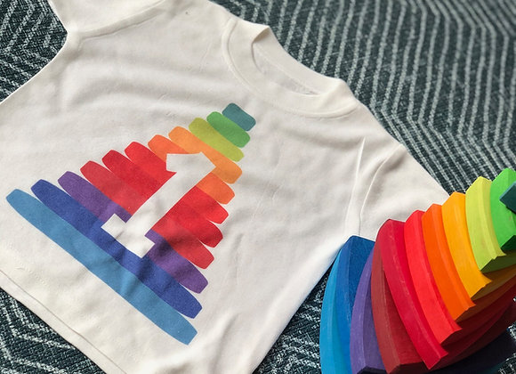 Rainbow Stacker Birthday T-shirt